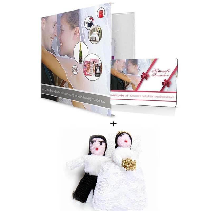 Luxe giftbox huwelijk zilver met bruidspaar gelukspoppetjes €3,95